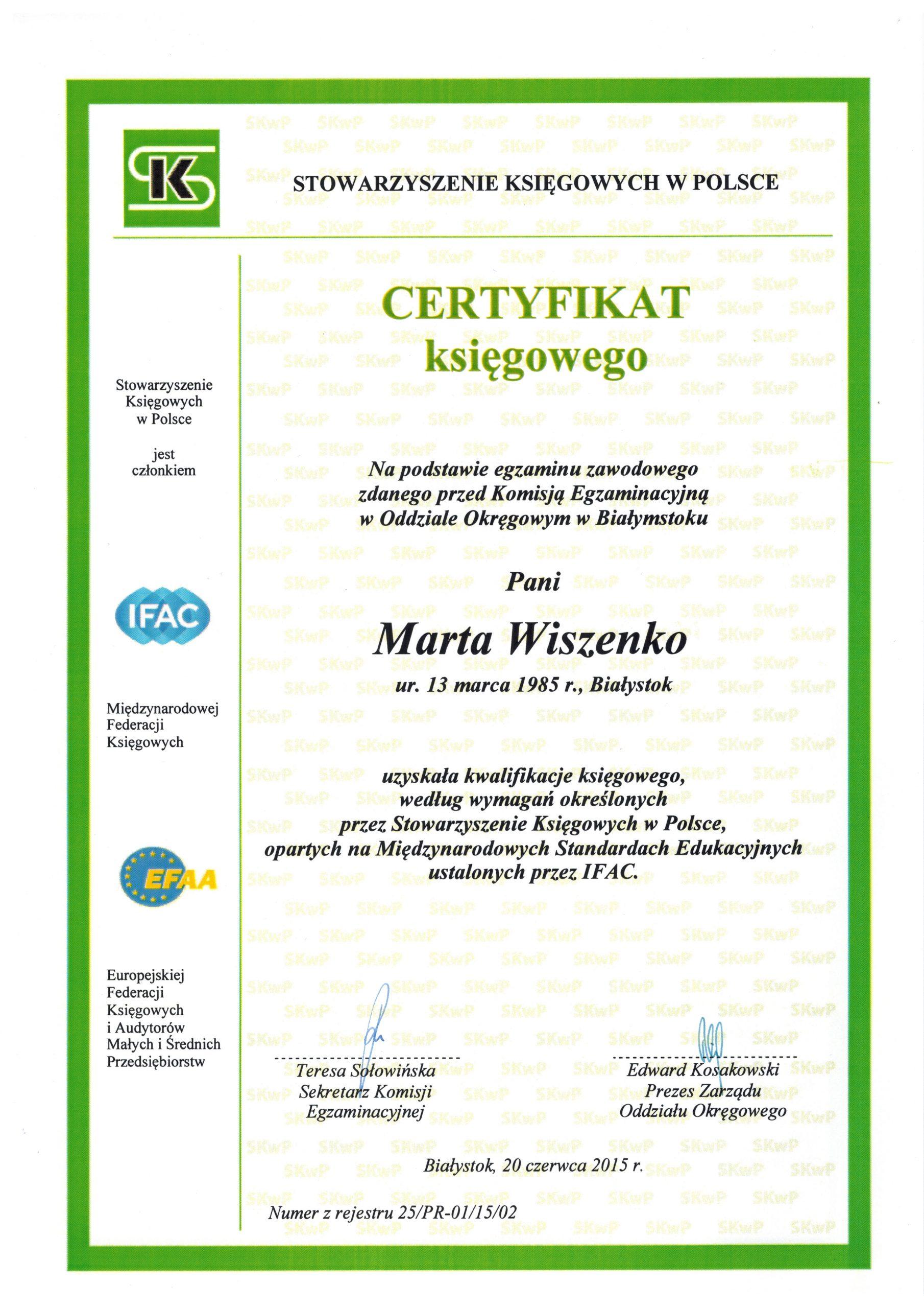 Certyfikat Marta Ksigowy