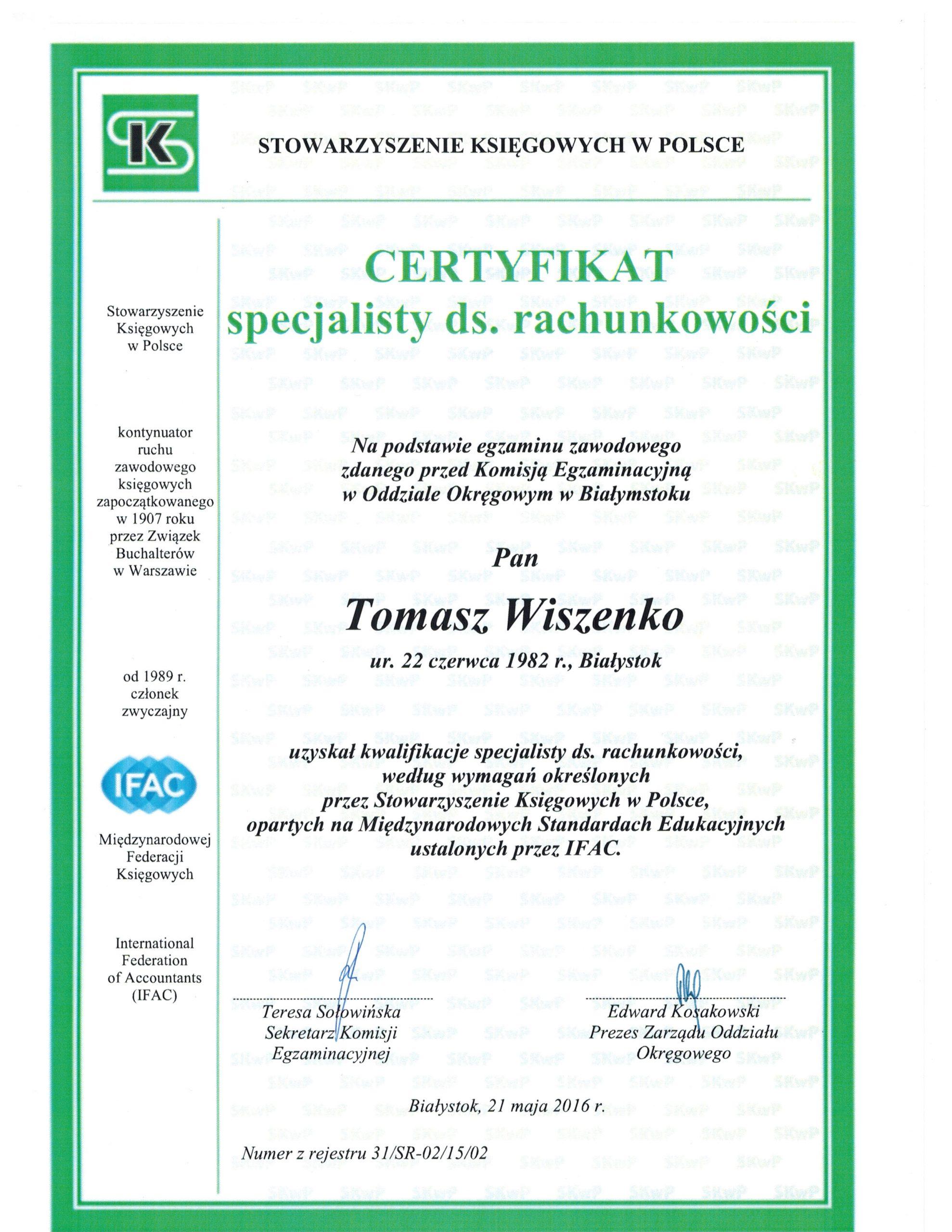 Certyfikat Specjalista Tomasz