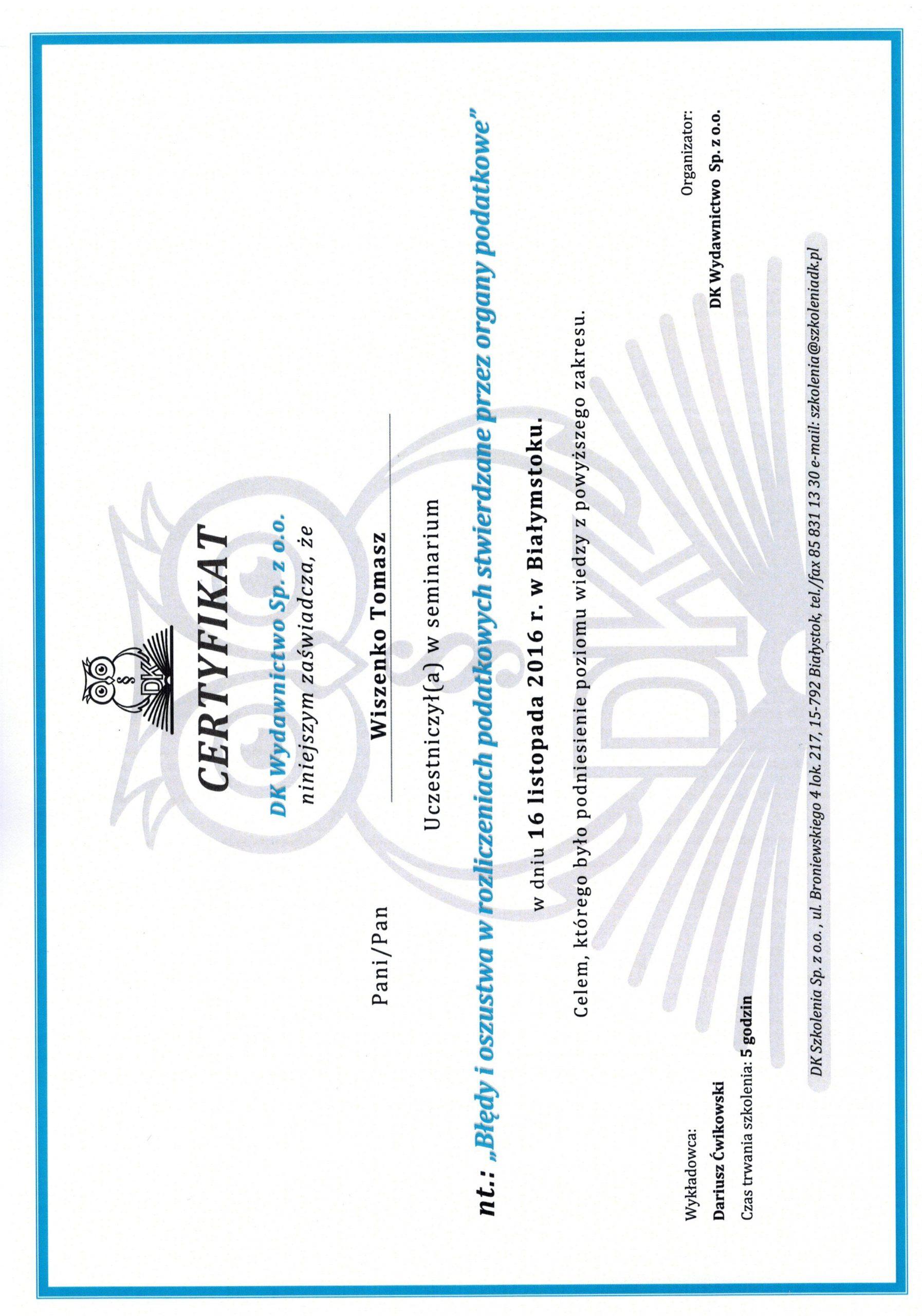 Certyfikat oszustwa podatkowe
