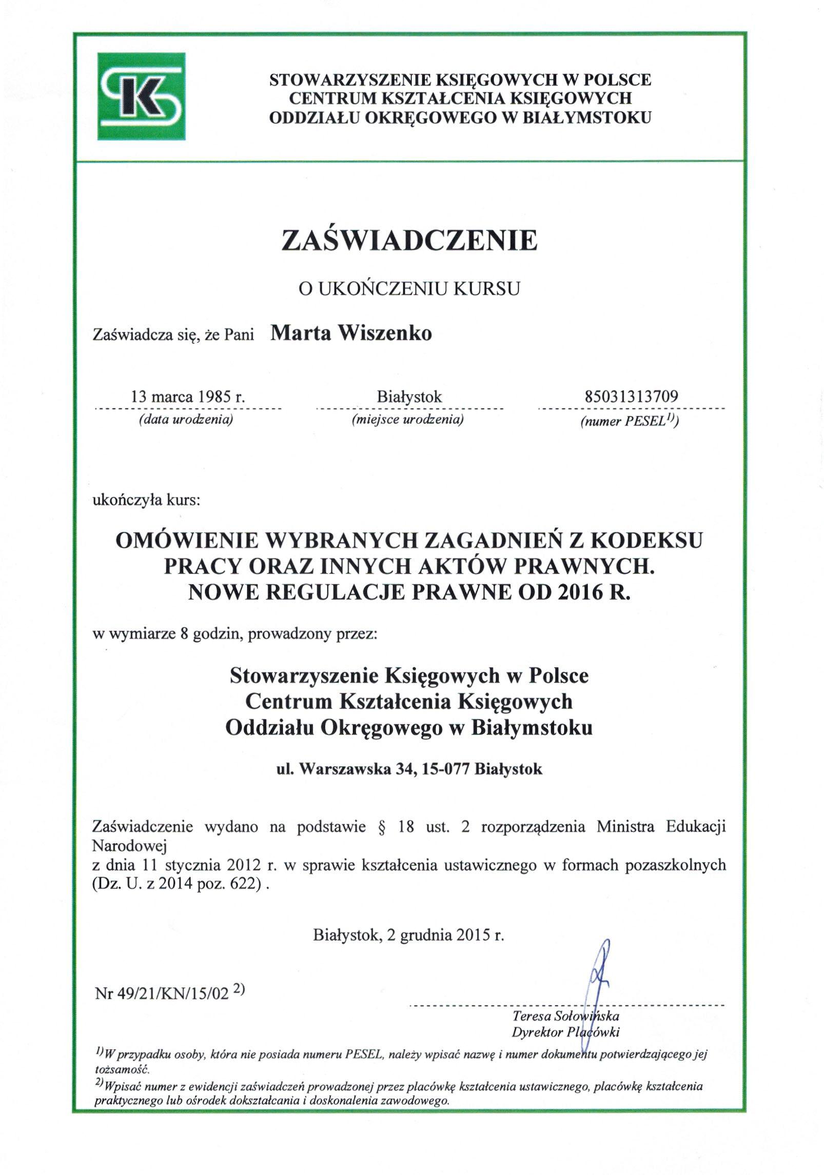 Certyfikat prawo pracy Marta Wiszenko