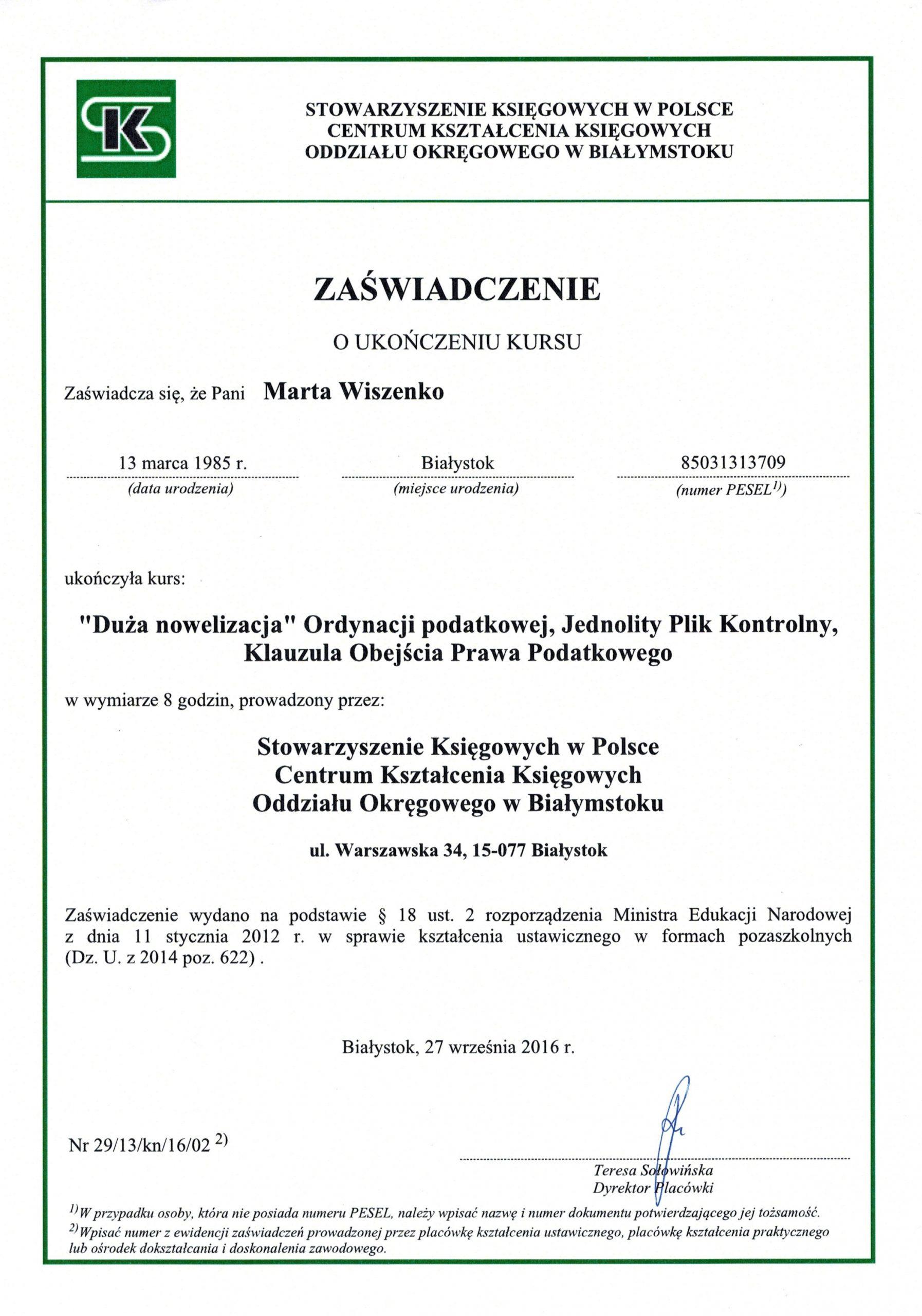 Certyfikat szkolenie Marta Wiszenko