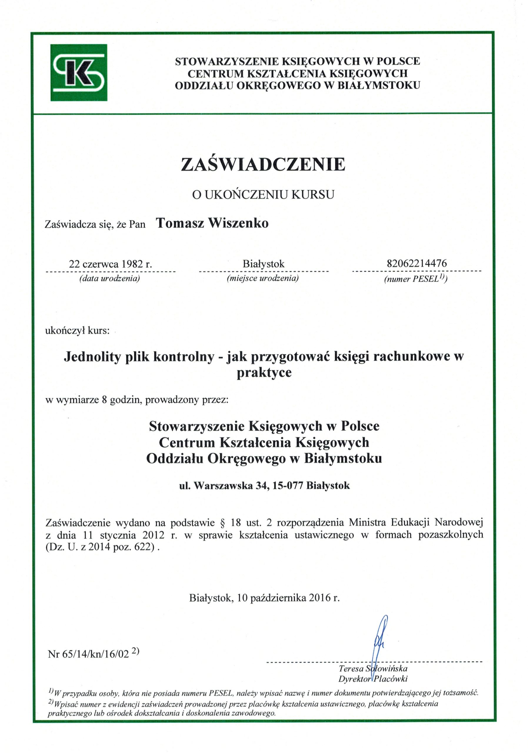 Tomasz Wiszenko - JPK Certyfikat